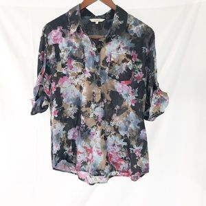 Sundance Catalog Floral Tunic Top Popover Shirt